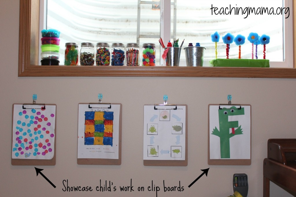 Clip Boards with Childs Work