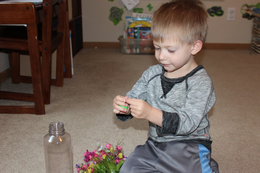 sensory bottle with flowers