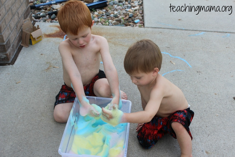 Playing with soap foam