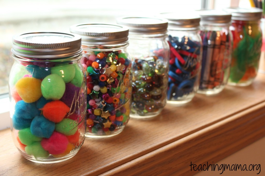 mason jars of craft supplies