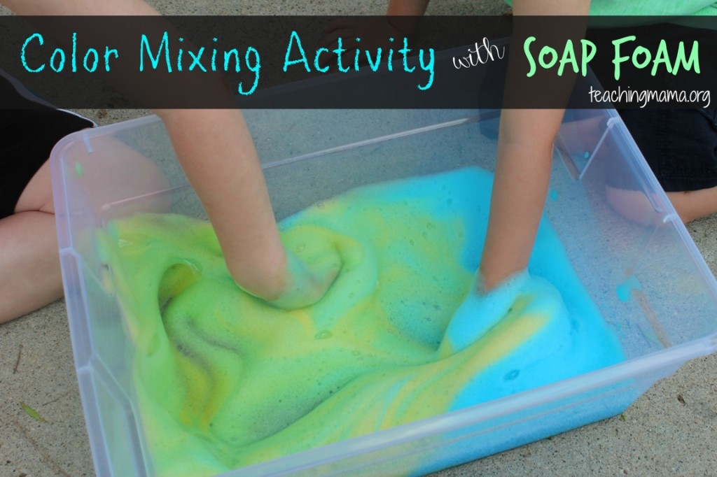Color Mixing Activity With Soap Foam on Science Crafts For Preschoolers