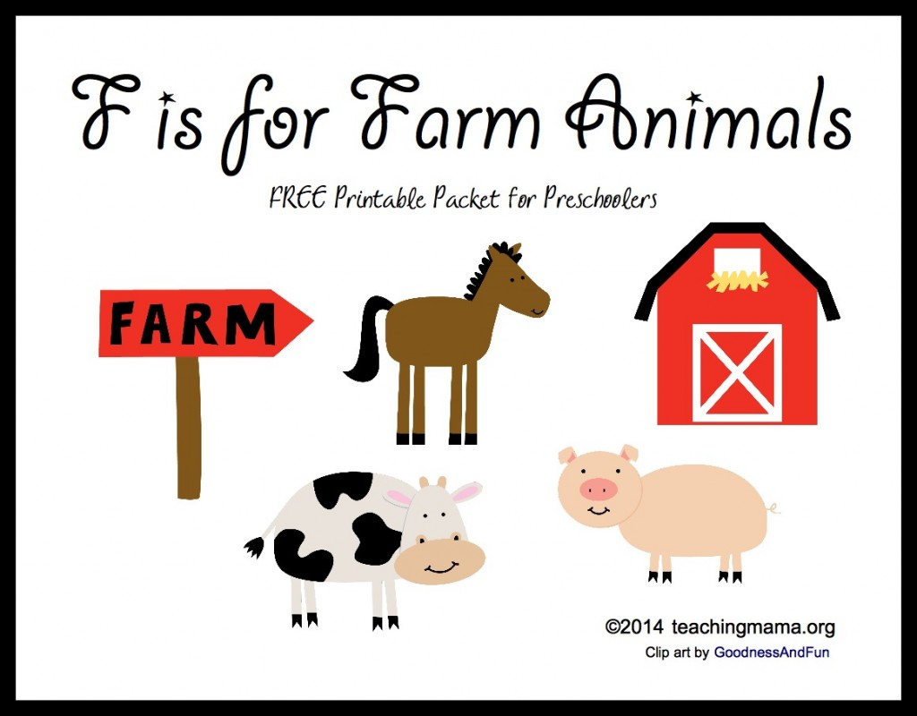 F is for Farm Animals -- Free Printable Packet for Preschoolers