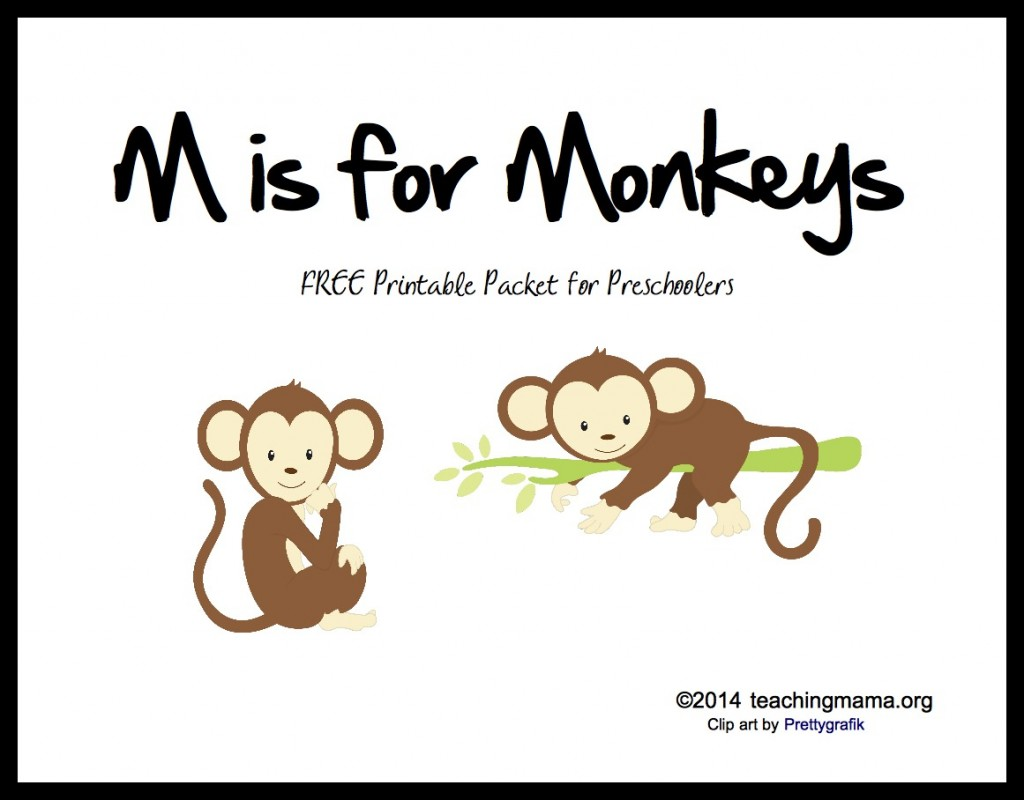 photo regarding Letter M Printable titled M is for Monkeys -- Letter M Printables