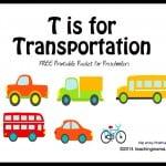 T is for Transportation — Letter T Printables