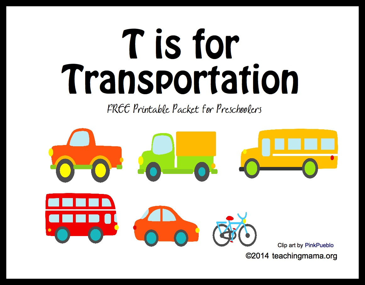 T is for Transportation -- Letter T Printables