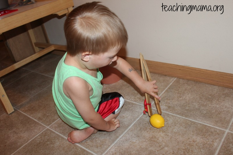 picking up with tongs