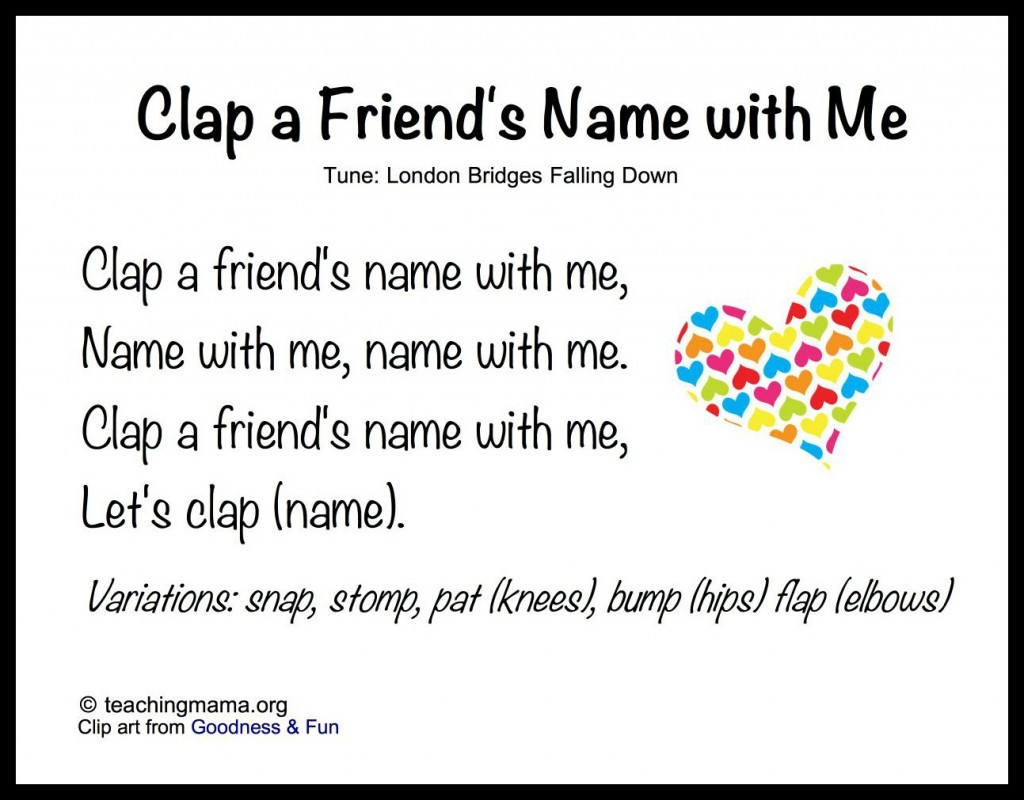 Clap A Friends Name With Me X on 8 songs to begin a preschool day