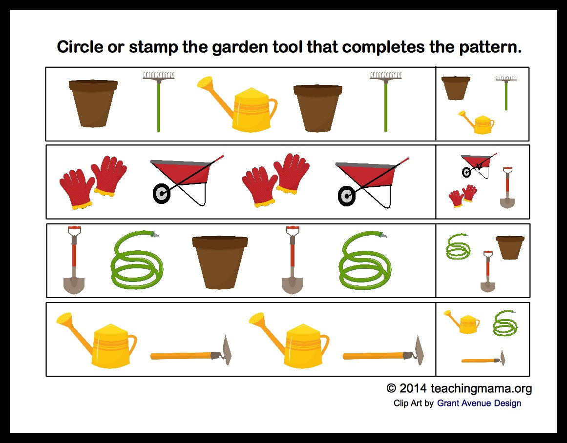 Preschool alphabet packet teaching mama for Gardening tools preschool