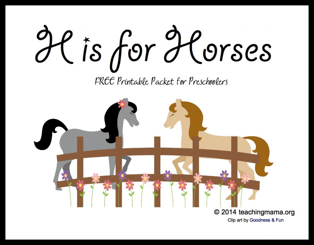 H is for Horses -- Free Printable Packet