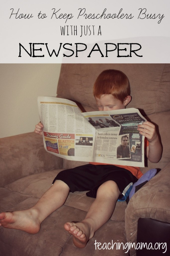 How to Keep Preschoolers Busy with Just a Newspaper