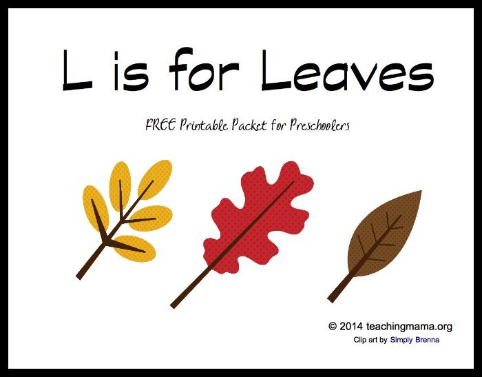 L is for Leaves -- Letter L Printables