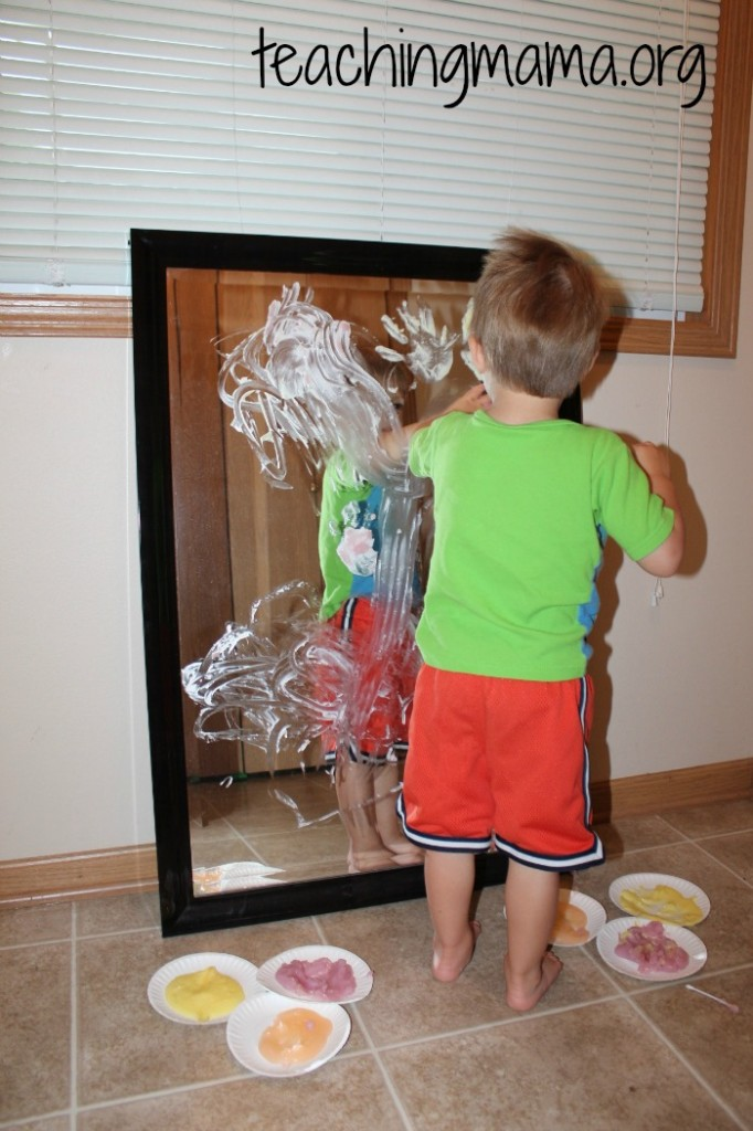 finger paint on mirror