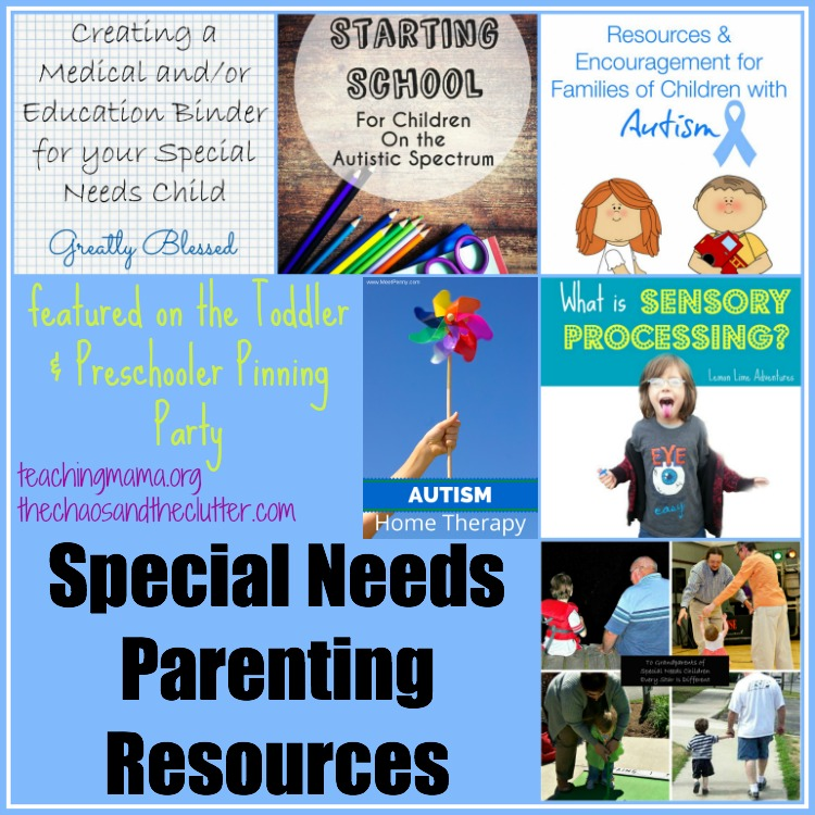 Special Needs Parenting Resources from the Toddler & Preschooler Pinning Party