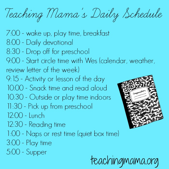 Daily schedule for work at home moms