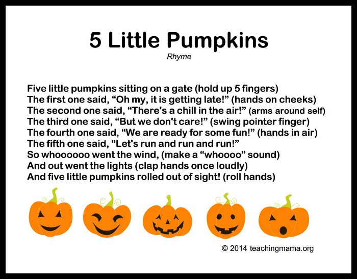 It is a picture of 5 Little Pumpkins Printable regarding toddler