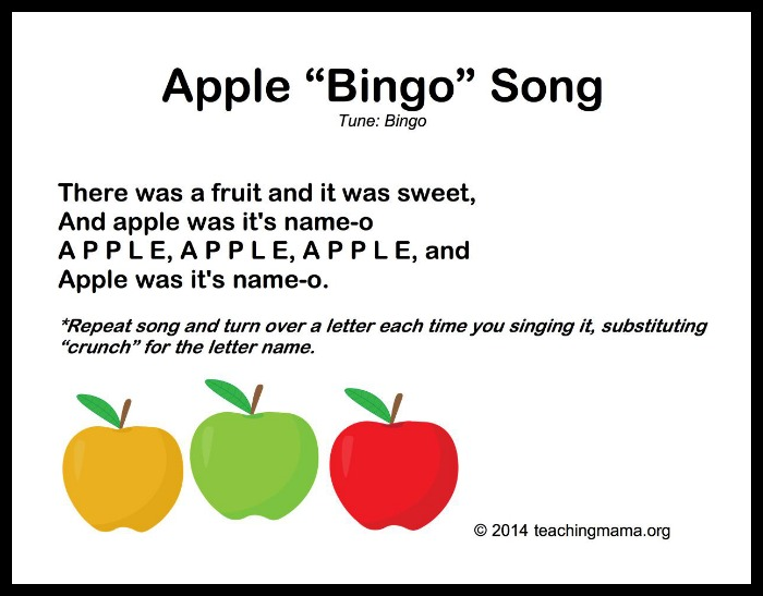Apple Bingo Song on 8 songs to begin a preschool day