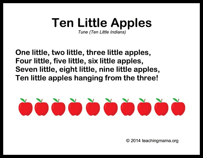Ten Little Apples Song Teaching Mama