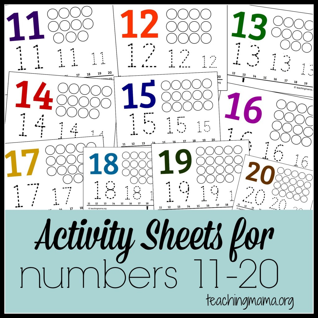 Activity Sheets for Numbers 11-20 (Free Printable!)