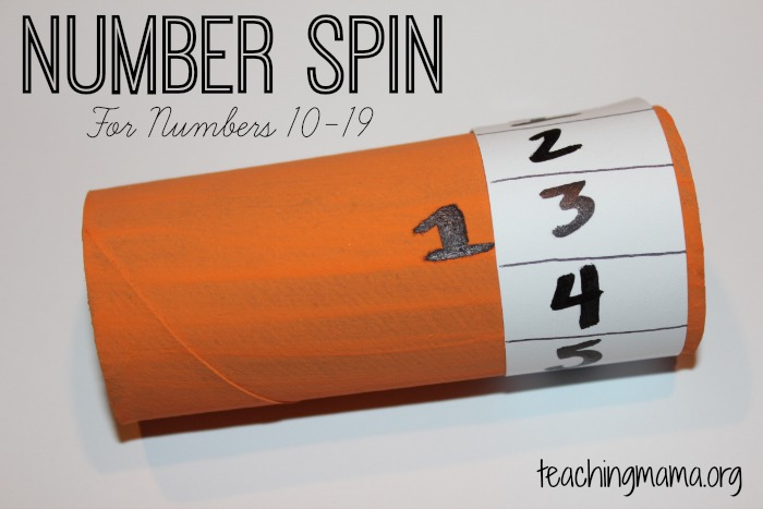 Number Spin for Numbers 10-19