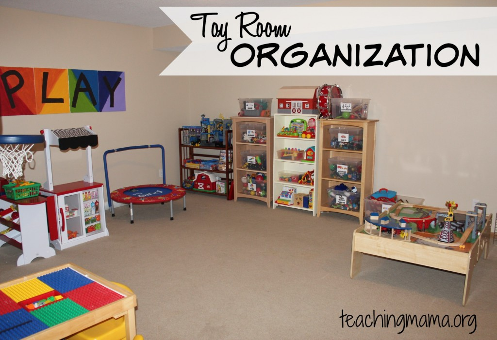 Kids Room With Toys room organization & free toy bin labels