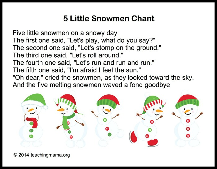 photo about Chubby Little Snowman Poem Printable named Winter season Audio for Preschoolers