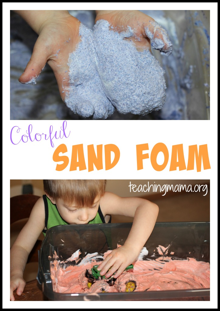 Colorful Sand Foam -- 2 Ingredient sensory fun!