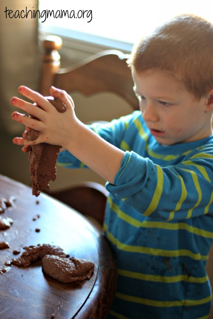 Playing with chocolate oobleck