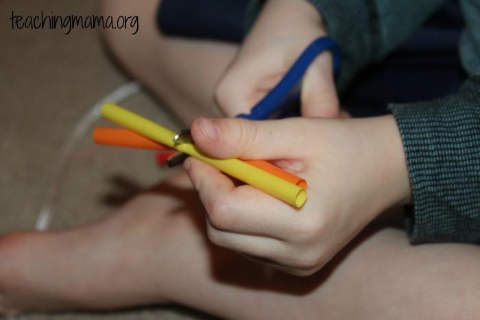 cutting 2 straws