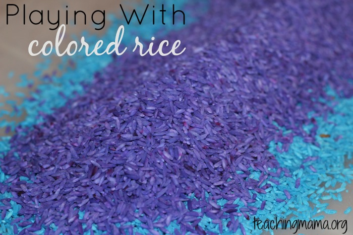 playing with colored rice