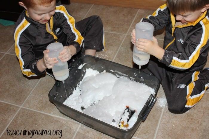 homemade snow and vinegar!