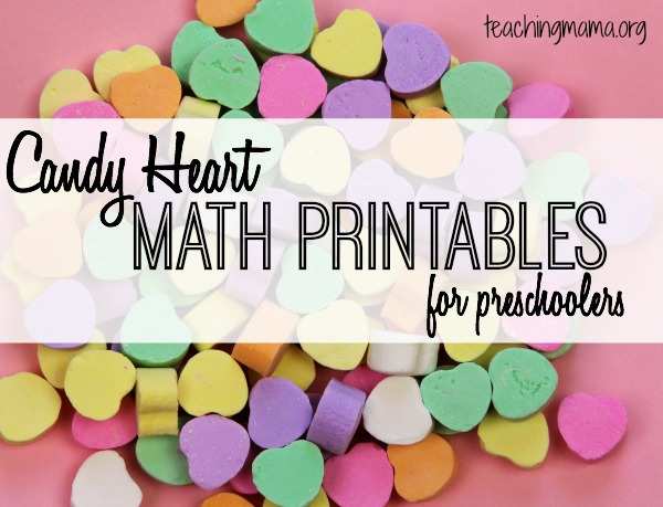 Candy Heart Math Printables for Preschoolers