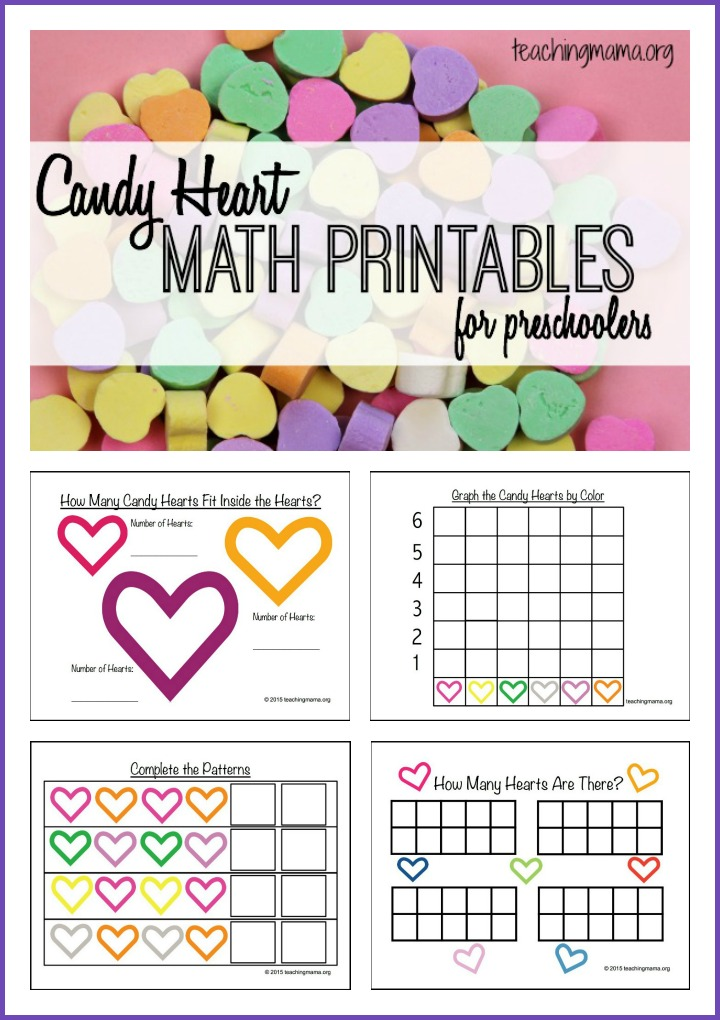 Candy Worksheets For Kindergarten : Candy heart math printables