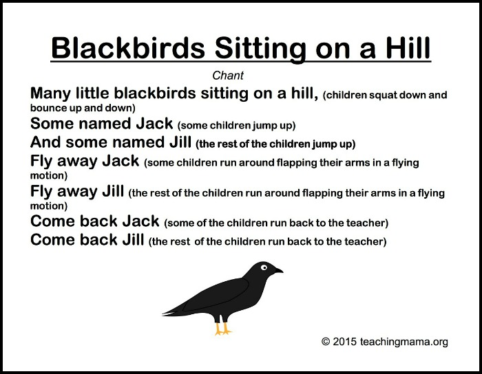 Blackbirds on 8 songs to begin a preschool day