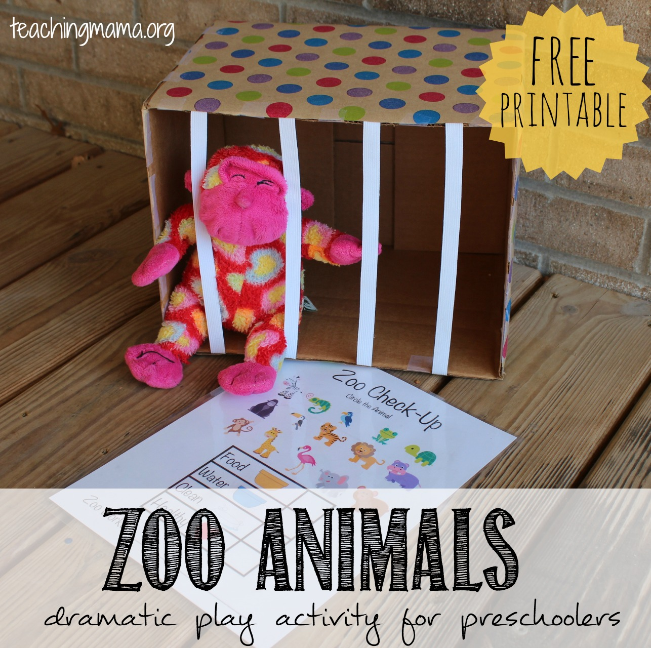 Zoo Animals Dramatic Play Activity on Post Office Dramatic Play
