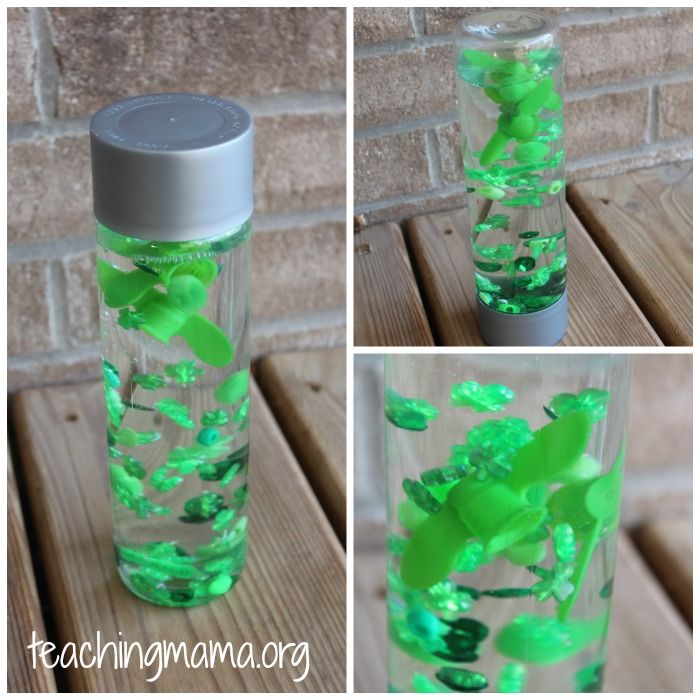 green sensory bottle