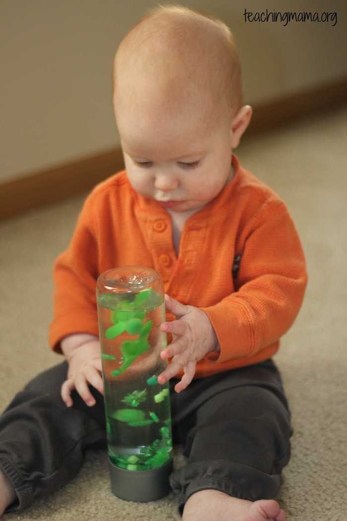 looking at the sensory bottle