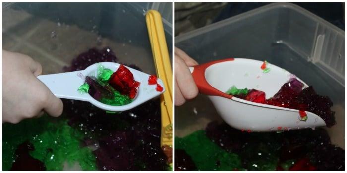 scooping jello