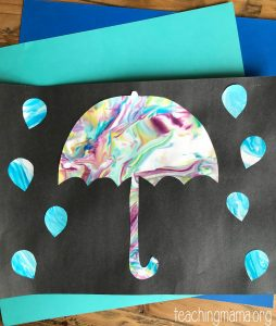 umbrella craft using shaving cream with colors