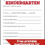 First Day of School Questionnaires