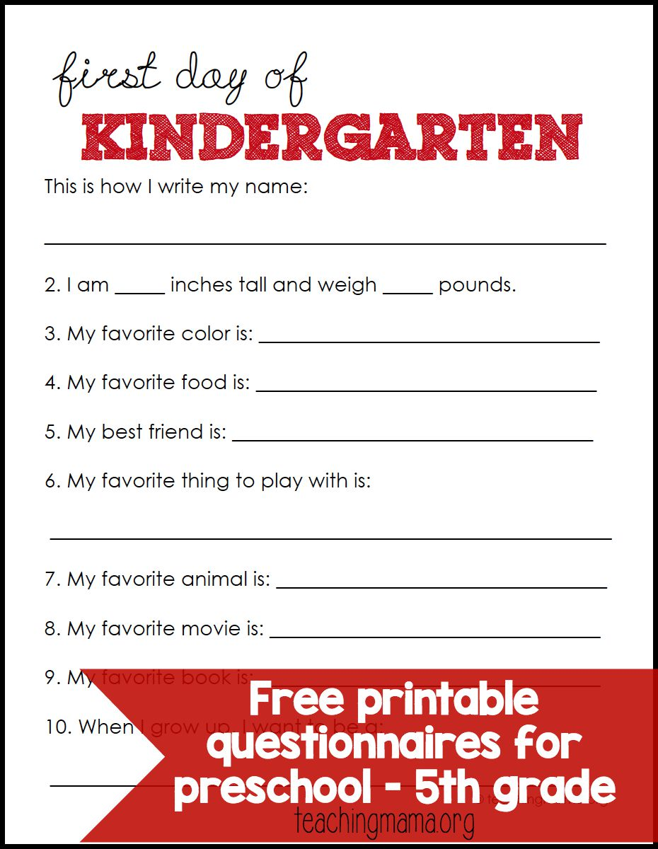 graphic about First Day of Preschool Free Printable called Very first Working day of University Questionnaires
