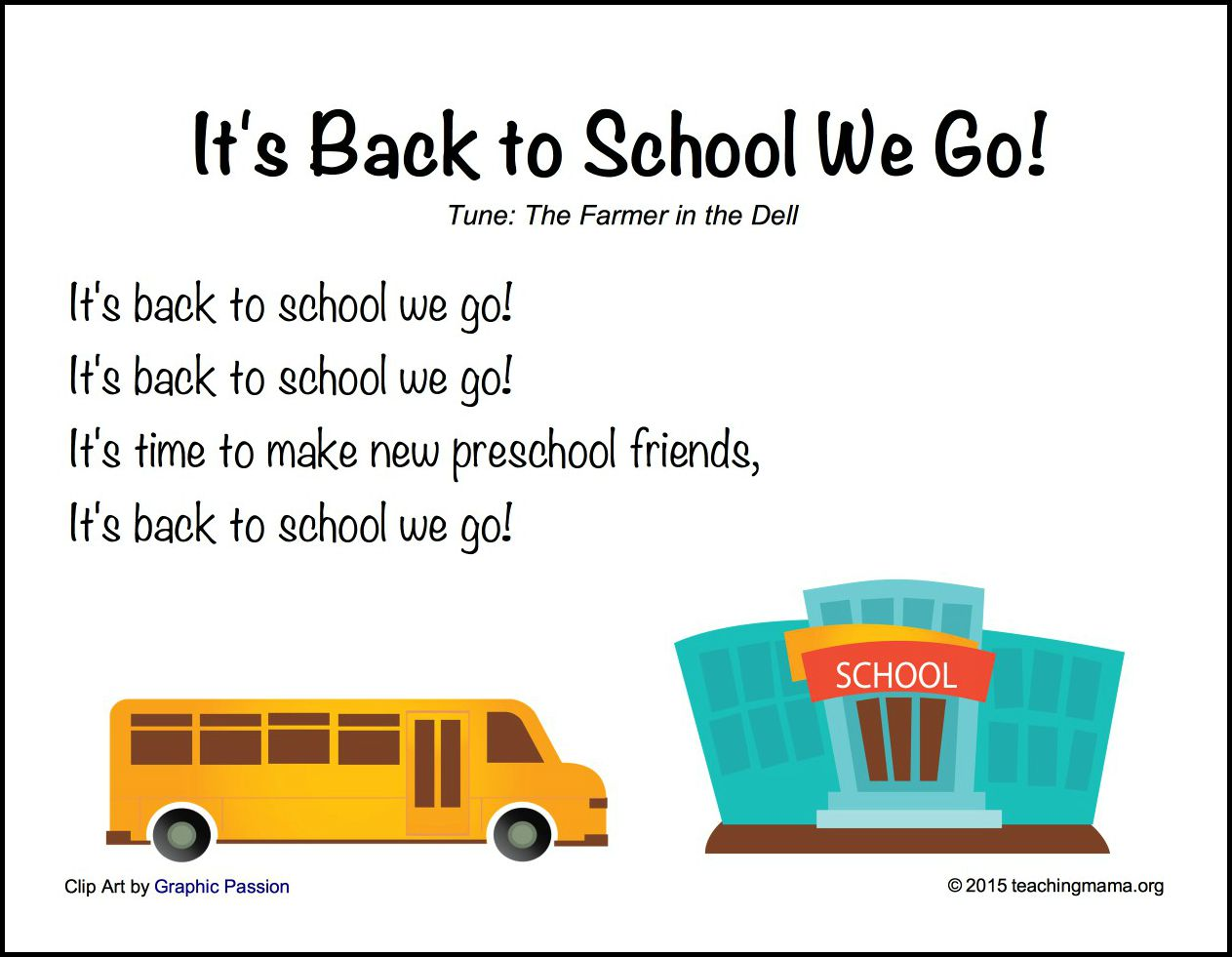 picture regarding Make New Friends Song Printable titled Back again in direction of Faculty Music for Preschoolers