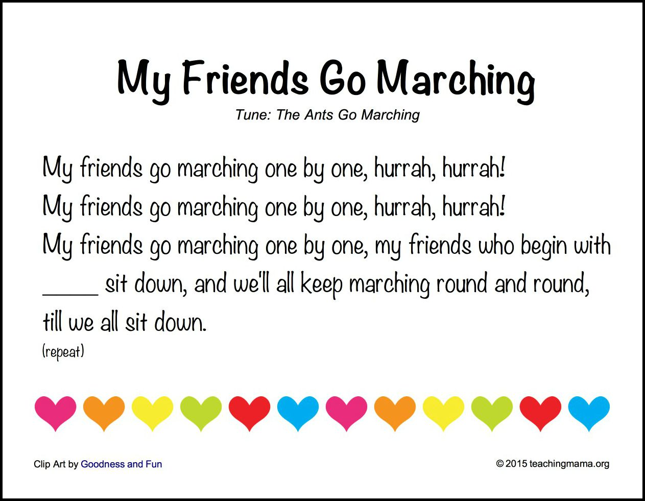 graphic relating to Make New Friends Song Printable called Again towards University Music for Preschoolers