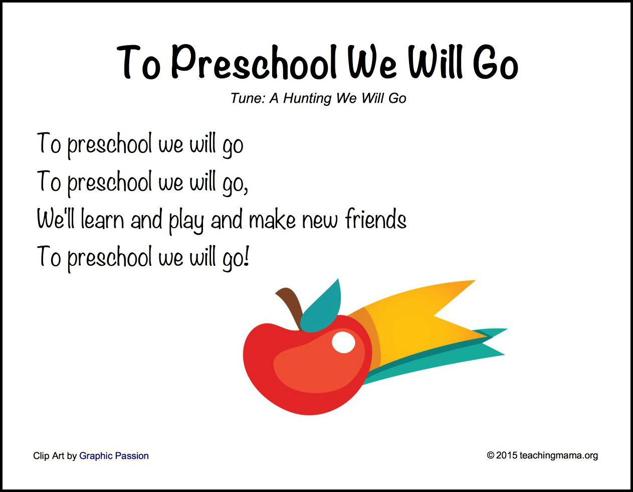 To Preschool We Will Go