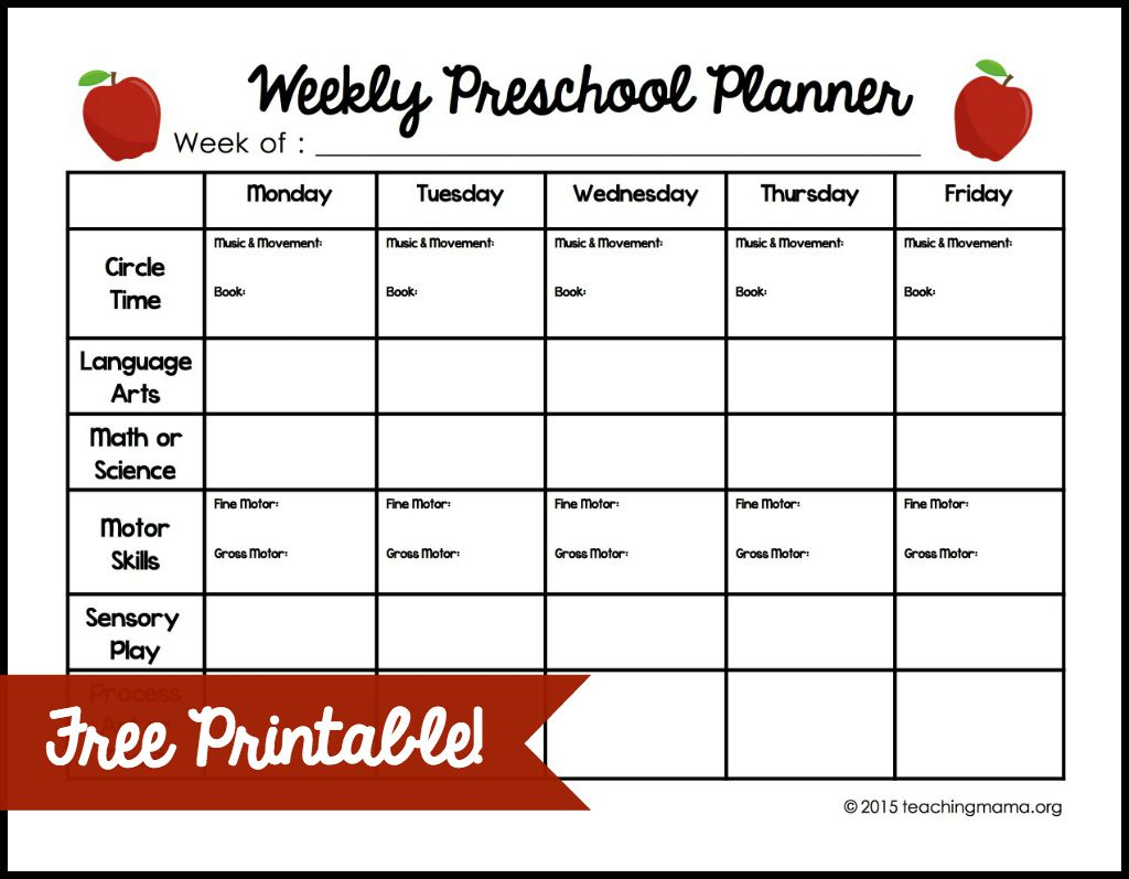 Weekly preschool planner for Kindergarten timetable template