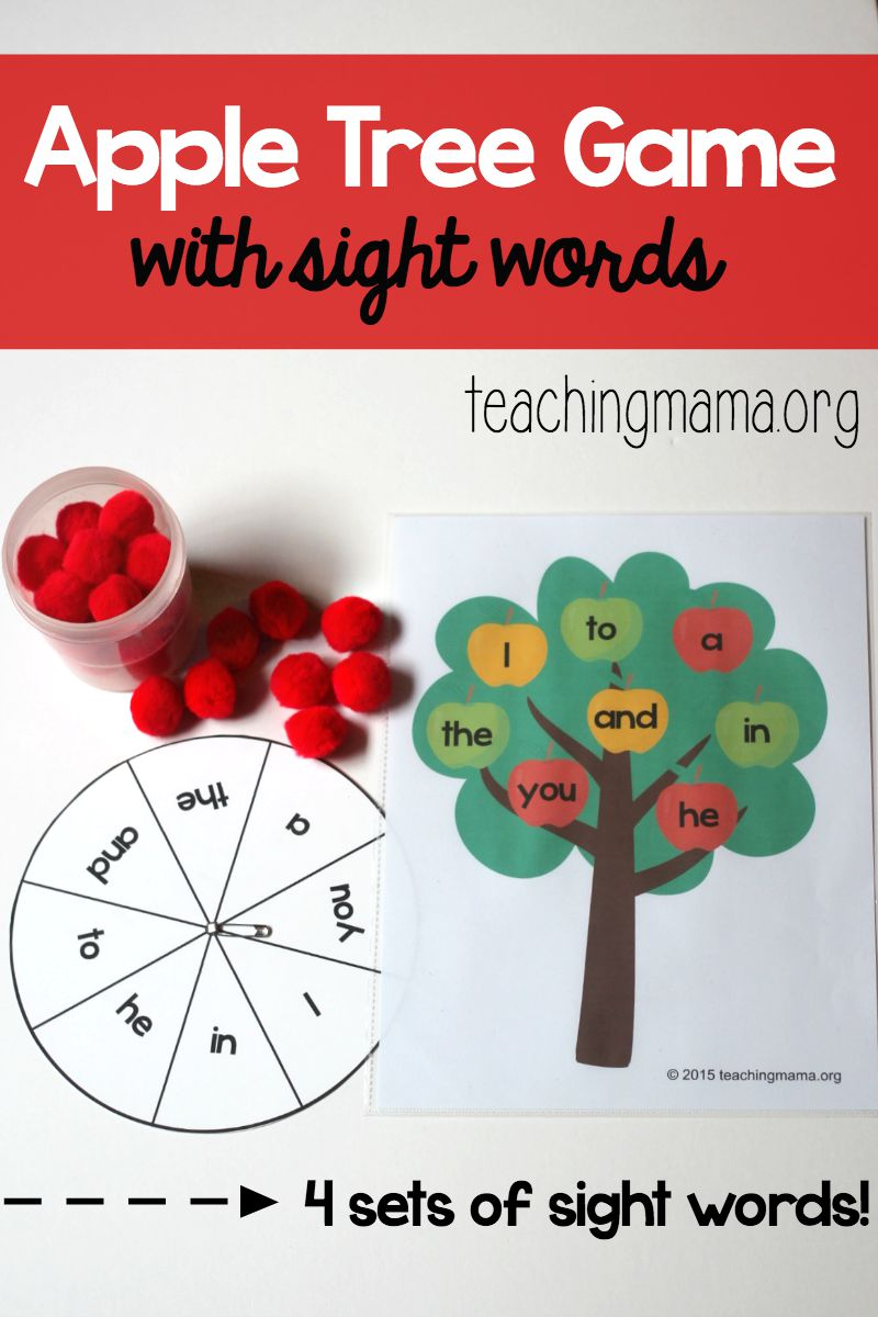 Apple Tree Game with Sight Words Pin