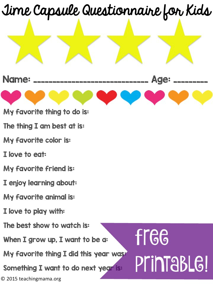 surveys for children time capsule questionnaire for kids teaching mama 1709