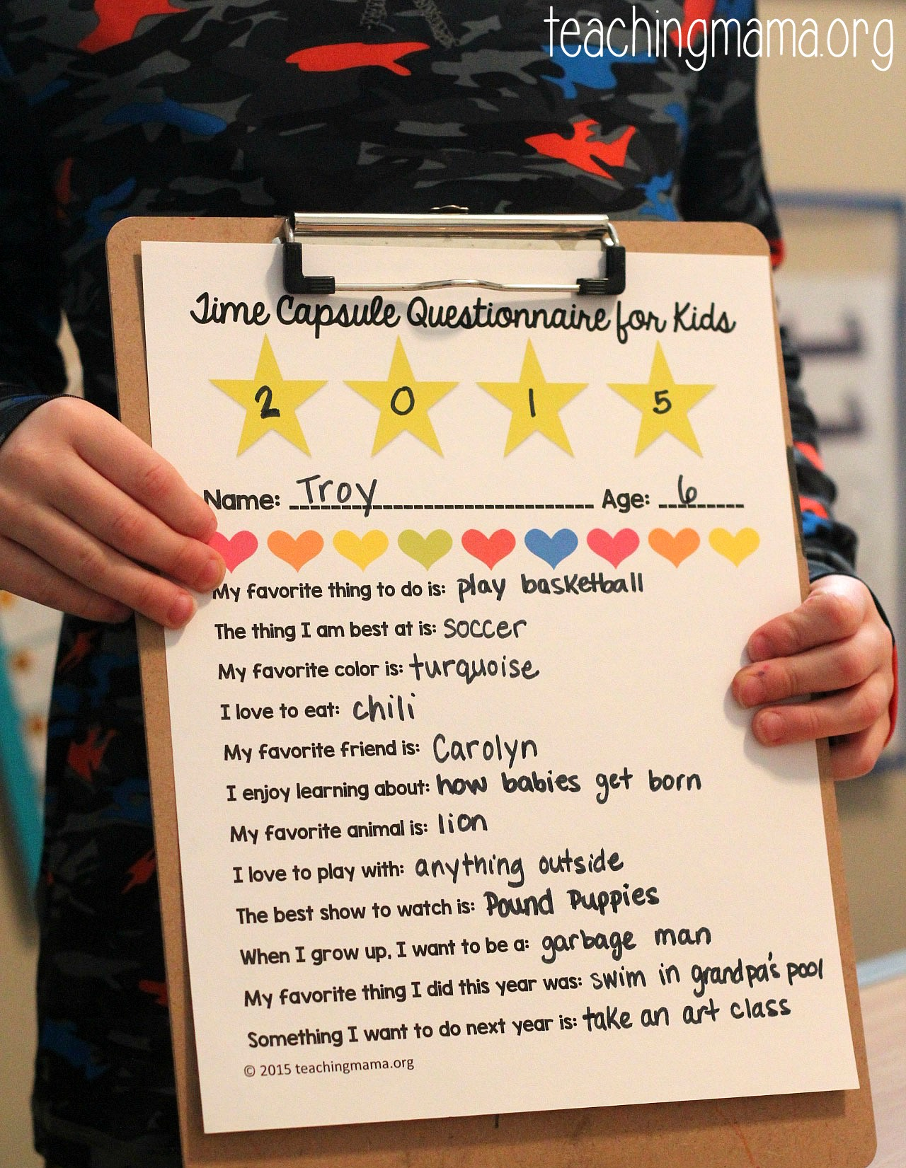 Time Capsule Questionnaire for Kids Teaching Mama – Time Capsule Worksheet