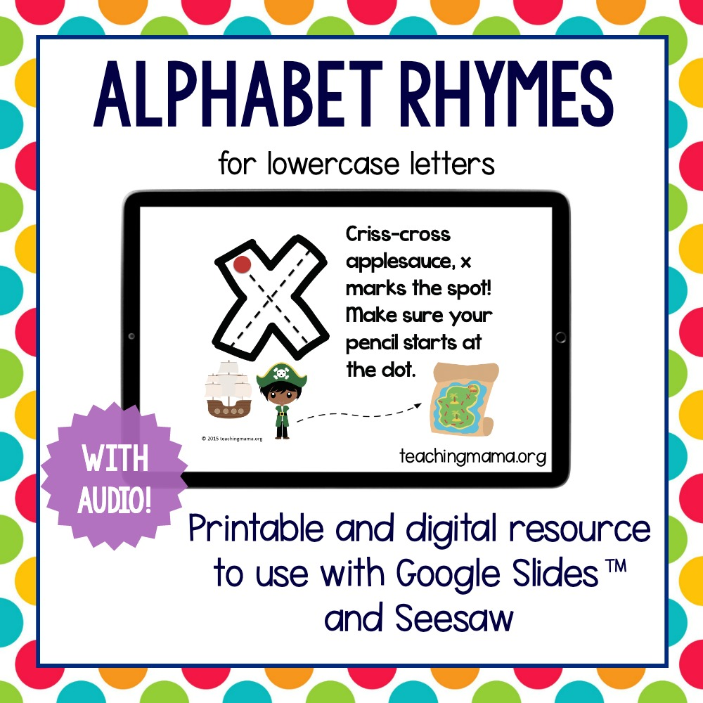 lowercase alphabet rhymes with digital resource