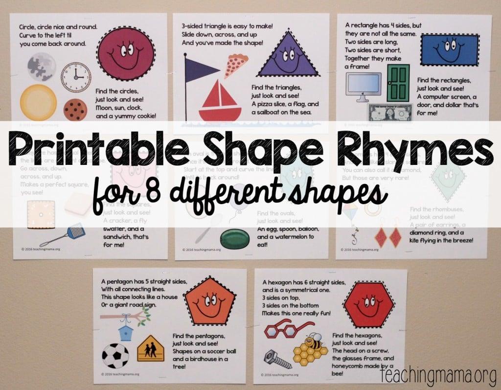 Printable Shape Rhymes Posters
