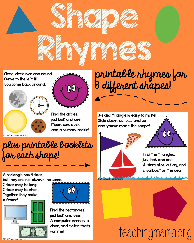 Shape Rhymes Printables - Teaching Mama